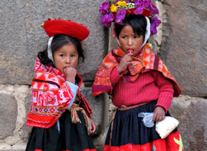 Local girls in the Sacred Valley