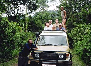 Safari vehicle on Uganda tour