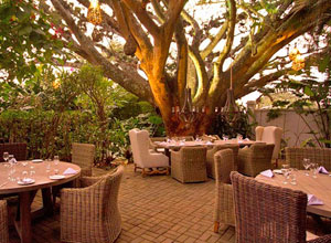 The dining terrace at Alta Hotel