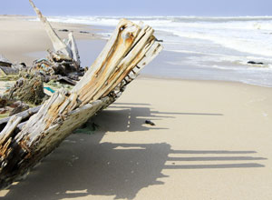 Boat wreck on the Skeleton Coast