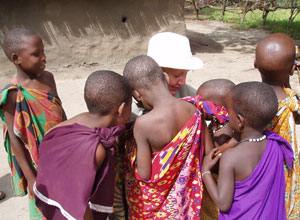 Meeting children at the local Maasai village near Sable Mountain Lodge