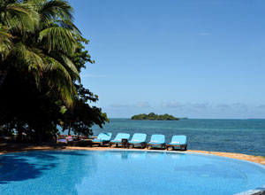 Pool and sunloungers at Fumba Beach